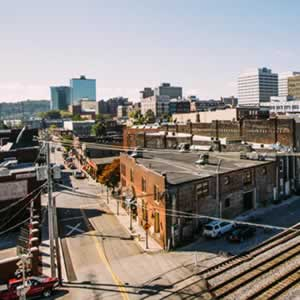 Views of downtown Knoxville and the historic Old City